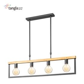 4头木框吊灯