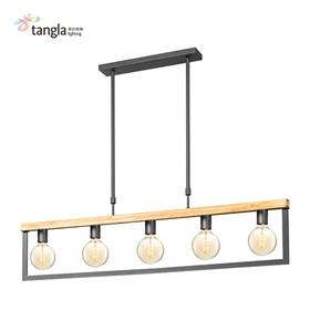 5头木框吊灯