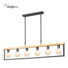 6头木框吊灯