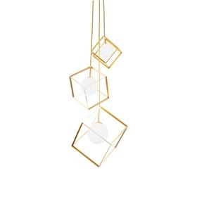 现代金色金属框架吊灯G9灯泡悬挂吊灯餐厅-MMD0008