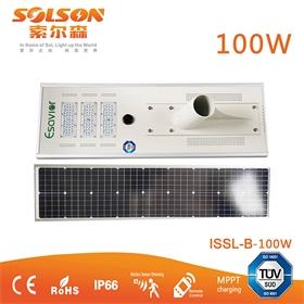 索尔森100W太阳能路灯 智能感应一体化太阳能路灯 led高亮节能路灯