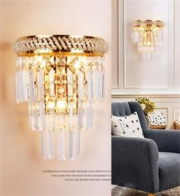 W1142创意客厅欧式水晶壁灯楼梯过道卧室床头水晶壁灯