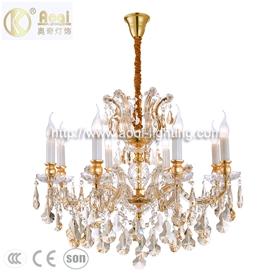 金色水晶蜡烛吊灯8头吊灯现代简约夹片灯客厅走廊卧室餐厅吊灯