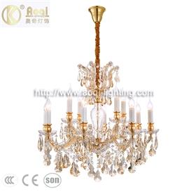 金色水晶蜡烛吊灯12头双层吊灯现代简约客厅走廊卧室餐厅夹片灯