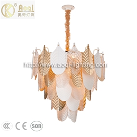 轻奢玻璃陶瓷吊灯 金色客厅灯5五层21头餐厅卧室非标工程灯饰