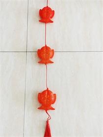 喜庆挂件 金福鱼 三连串 双鱼吊饰 插头款 室内 装饰
