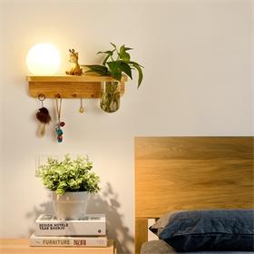 创意花盆挂钩动植物设计固定材料木底玻璃LED壁灯