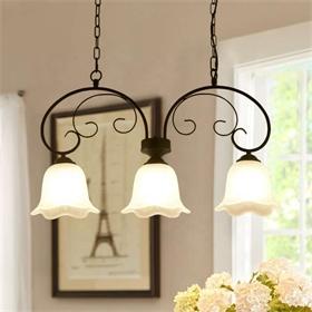 现代风格设计暖光玻璃灯罩金属装饰吊灯