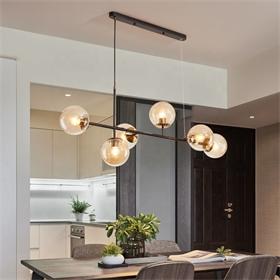 现代风格创意玻璃灯罩实心圆形吊灯枝形吊灯