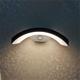 新款简约欧式LED户外人体感应款壁灯下弯防水庭院门口阳台墙壁