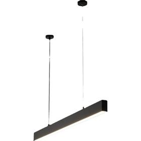 吊线线型灯餐厅无主灯设计吧台线型LED灯长条吊线灯格栅灯办公
